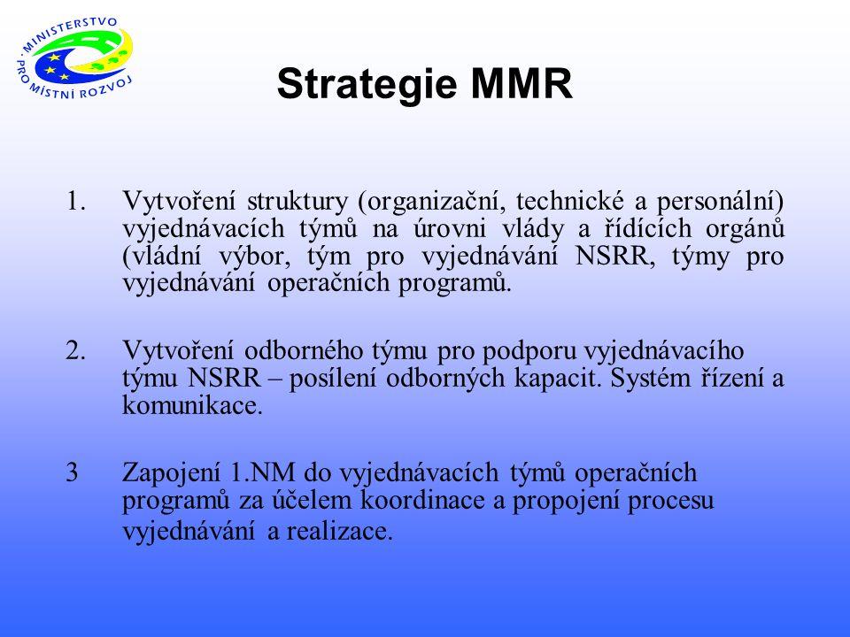 Strategie MMR 1.Vytvoření struktury (organizační, technické a personální) vyjednávacích týmů na úrovni vlády a řídících orgánů (vládní výbor, tým pro vyjednávání NSRR, týmy pro vyjednávání operačních programů.