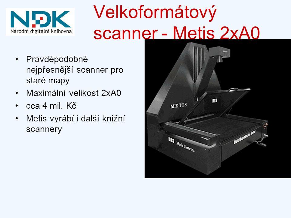 Velkoformátový scanner - Metis 2xA0 Pravděpodobně nejpřesnější scanner pro staré mapy Maximální velikost 2xA0 cca 4 mil.