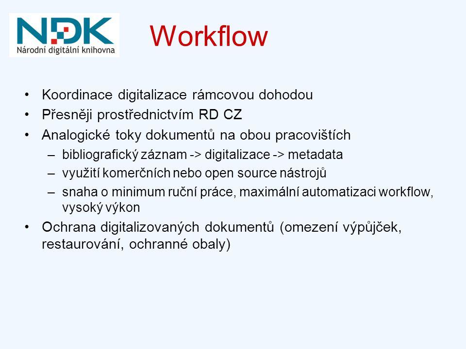 Workflow Koordinace digitalizace rámcovou dohodou Přesněji prostřednictvím RD CZ Analogické toky dokumentů na obou pracovištích –bibliografický záznam -> digitalizace -> metadata –využití komerčních nebo open source nástrojů –snaha o minimum ruční práce, maximální automatizaci workflow, vysoký výkon Ochrana digitalizovaných dokumentů (omezení výpůjček, restaurování, ochranné obaly)