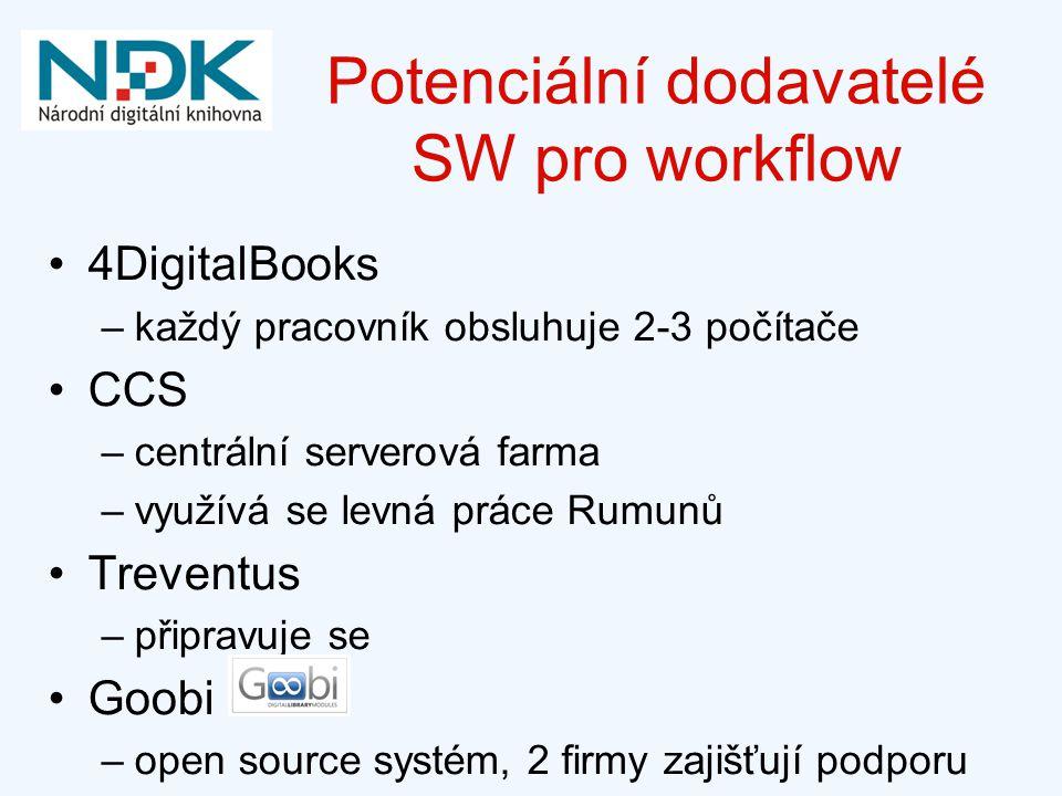 Potenciální dodavatelé SW pro workflow 4DigitalBooks –každý pracovník obsluhuje 2-3 počítače CCS –centrální serverová farma –využívá se levná práce Rumunů Treventus –připravuje se Goobi –open source systém, 2 firmy zajišťují podporu