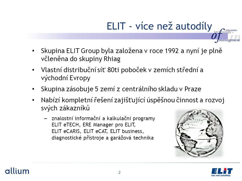 2 Skupina ELIT Group byla založena v roce 1992 a nyní je plně včleněna do skupiny Rhiag Vlastní distribuční síť 80ti poboček v zemích střední a východní Evropy Skupina zásobuje 5 zemí z centrálního skladu v Praze Nabízí kompletní řešení zajišťující úspěšnou činnost a rozvoj svých zákazníků – znalostní informační a kalkulační programy ELIT eTECH, ERE Manager pro ELIT, ELIT eCARIS, ELIT eCAT, ELIT business, diagnostické přístroje a garážová technika ELIT - více než autodíly
