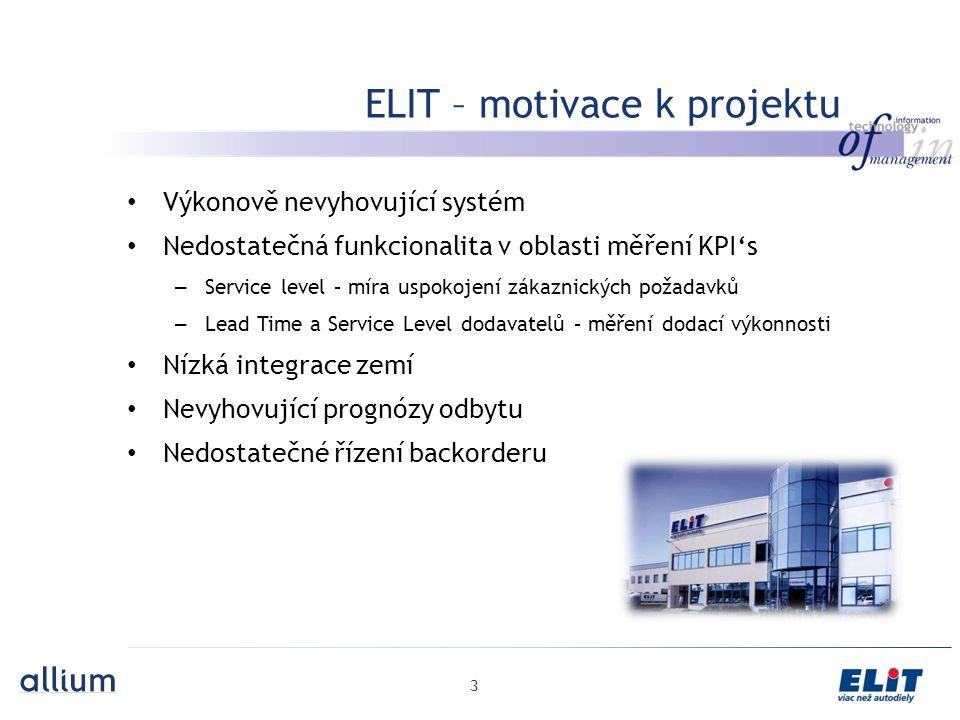 3 ELIT – motivace k projektu Výkonově nevyhovující systém Nedostatečná funkcionalita v oblasti měření KPI's – Service level – míra uspokojení zákaznických požadavků – Lead Time a Service Level dodavatelů – měření dodací výkonnosti Nízká integrace zemí Nevyhovující prognózy odbytu Nedostatečné řízení backorderu