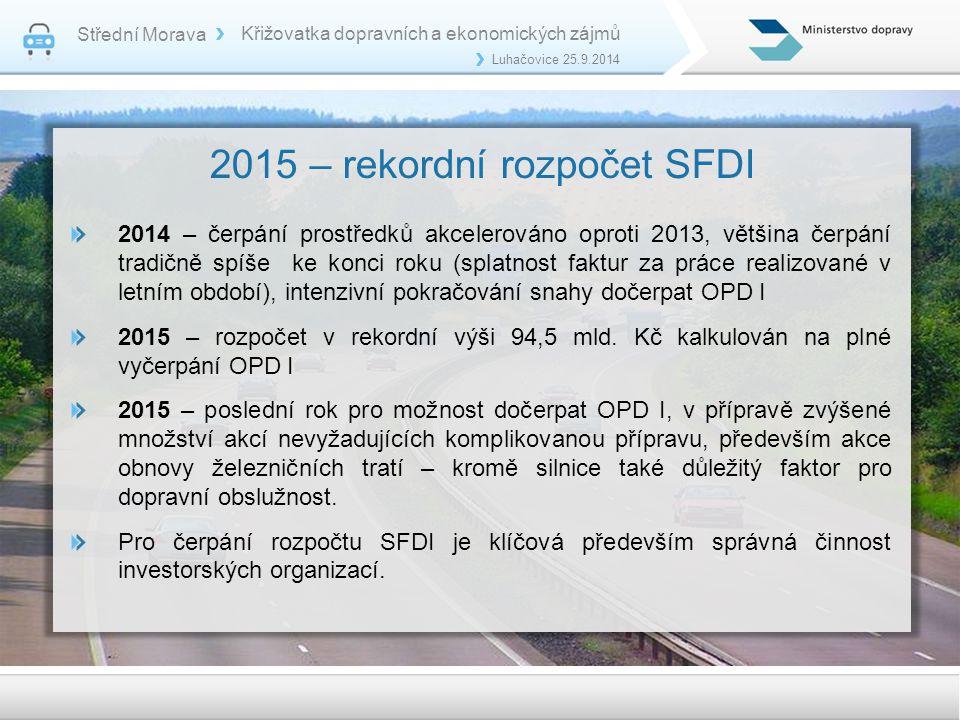 2015 – rekordní rozpočet SFDI 2014 – čerpání prostředků akcelerováno oproti 2013, většina čerpání tradičně spíše ke konci roku (splatnost faktur za práce realizované v letním období), intenzivní pokračování snahy dočerpat OPD I 2015 – rozpočet v rekordní výši 94,5 mld.