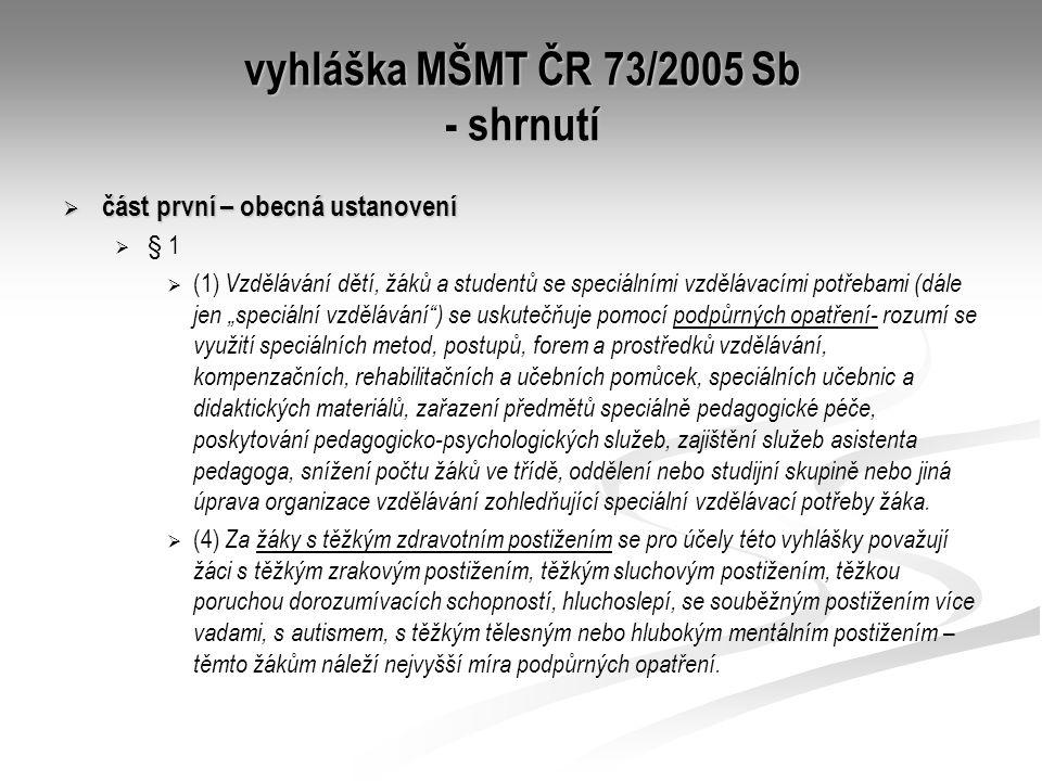 vyhláška MŠMT ČR 73/2005 Sb - shrnutí  část první – obecná ustanovení   § 1   (1) Vzdělávání dětí, žáků a studentů se speciálními vzdělávacími po