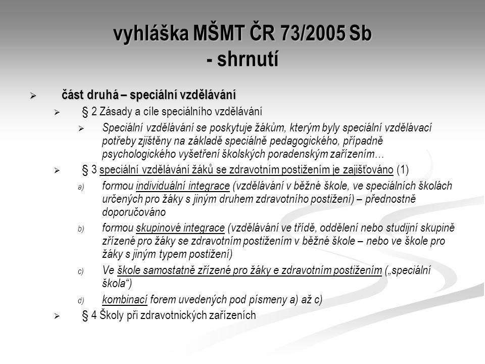 vyhláška MŠMT ČR 73/2005 Sb - shrnutí  část druhá – speciální vzdělávání   § 2 Zásady a cíle speciálního vzdělávání   Speciální vzdělávání se pos