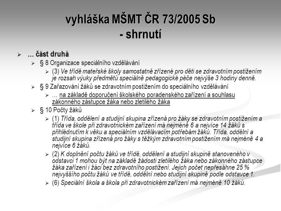 vyhláška MŠMT ČR 73/2005 Sb - shrnutí  … část druhá   § 8 Organizace speciálního vzdělávání   (3) Ve třídě mateřské školy samostatně zřízené pro