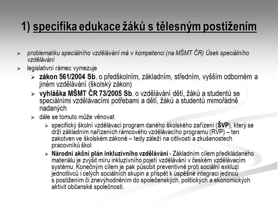1) specifika edukace žáků s tělesným postižením  problematiku speciálního vzdělávání má v kompetenci (na MŠMT ČR) Úsek speciálního vzdělávání  legis