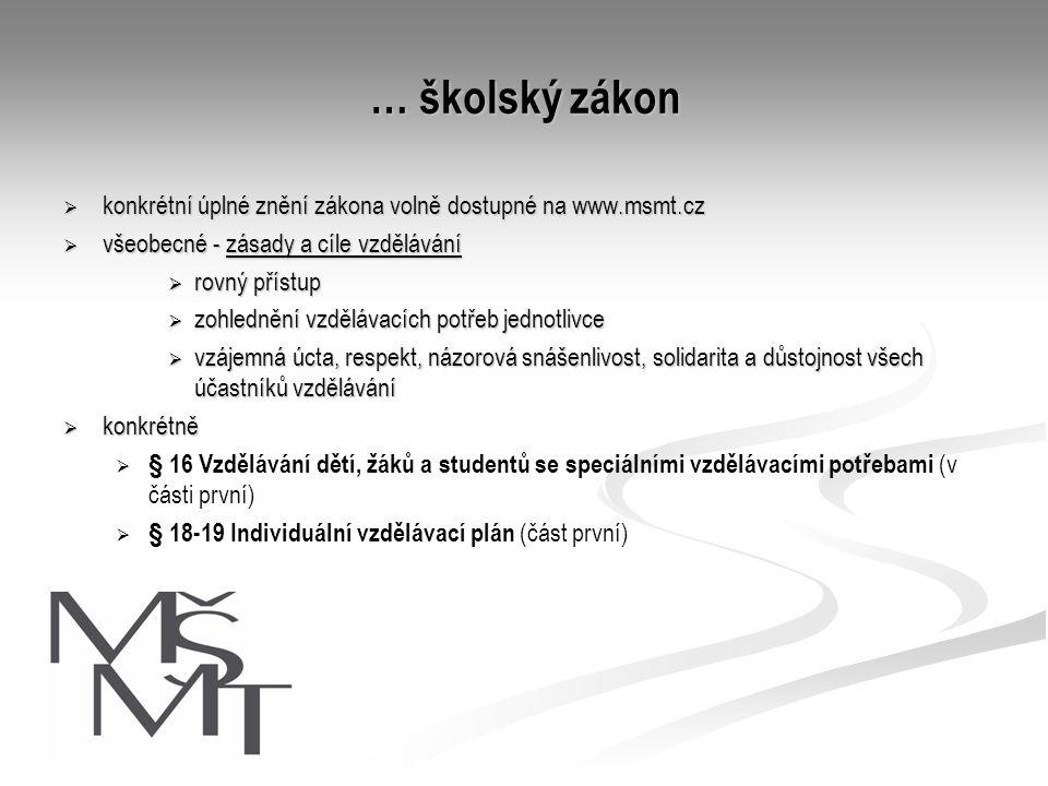… školský zákon  konkrétní úplné znění zákona volně dostupné na www.msmt.cz  všeobecné - zásady a cíle vzdělávání  rovný přístup  zohlednění vzděl