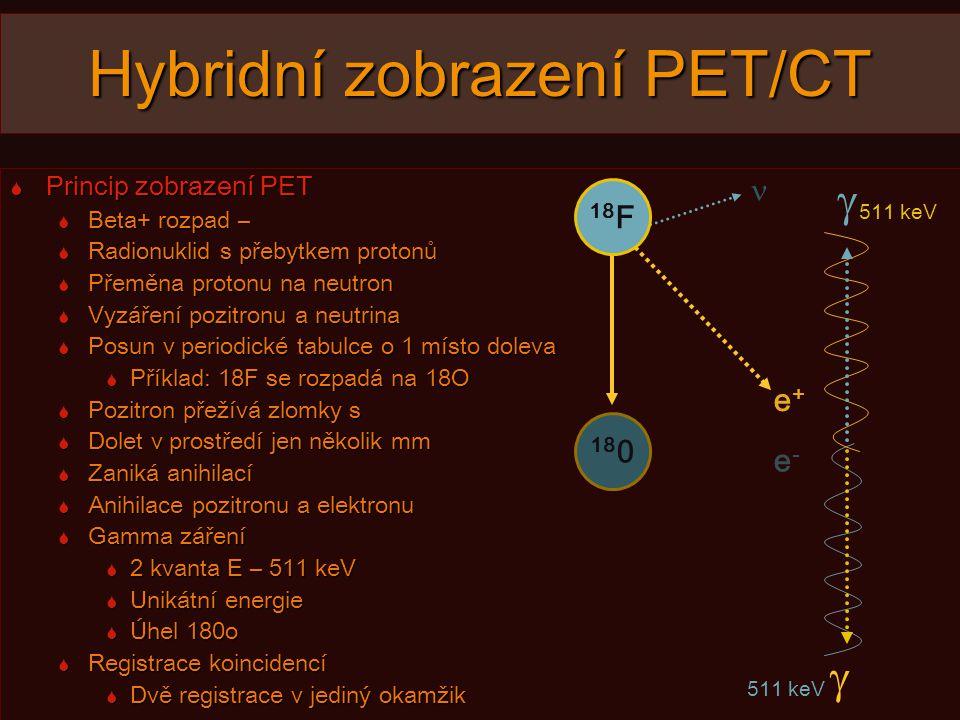 e-e- e+e+ Hybridní zobrazení PET/CT  Princip zobrazení PET  Beta+ rozpad –  Radionuklid s přebytkem protonů  Přeměna protonu na neutron  Vyzáření pozitronu a neutrina  Posun v periodické tabulce o 1 místo doleva  Příklad: 18F se rozpadá na 18O  Pozitron přežívá zlomky s  Dolet v prostředí jen několik mm  Zaniká anihilací  Anihilace pozitronu a elektronu  Gamma záření  2 kvanta E – 511 keV  Unikátní energie  Úhel 180o  Registrace koincidencí  Dvě registrace v jediný okamžik 18 0 511 keV   18 F