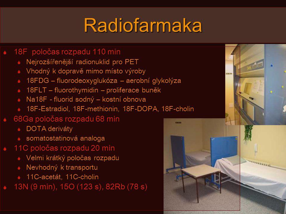 Radiofarmaka  18F poločas rozpadu 110 min  Nejrozšířenější radionuklid pro PET  Vhodný k dopravě mimo místo výroby  18FDG – fluorodeoxyglukóza – aerobní glykolýza  18FLT – fluorothymidin – proliferace buněk  Na18F - fluorid sodný – kostní obnova  18F-Estradiol, 18F-methionin, 18F-DOPA, 18F-cholin  68Ga poločas rozpadu 68 min  DOTA deriváty  somatostatinová analoga  11C poločas rozpadu 20 min  Velmi krátký poločas rozpadu  Nevhodný k transportu  11C-acetát, 11C-cholin  13N (9 min), 15O (123 s), 82Rb (78 s)