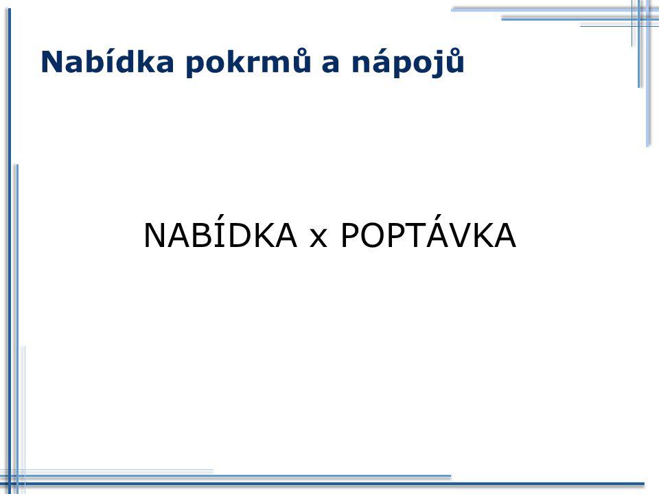Nabídka pokrmů a nápojů NABÍDKA x POPTÁVKA