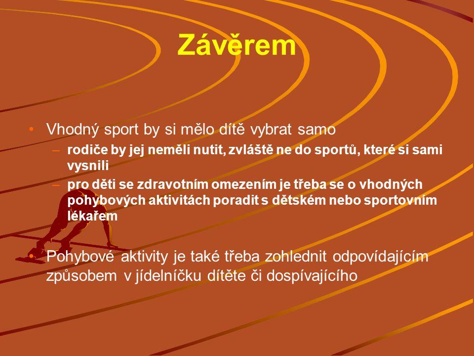 Závěrem Vhodný sport by si mělo dítě vybrat samo –rodiče by jej neměli nutit, zvláště ne do sportů, které si sami vysnili –pro děti se zdravotním omez