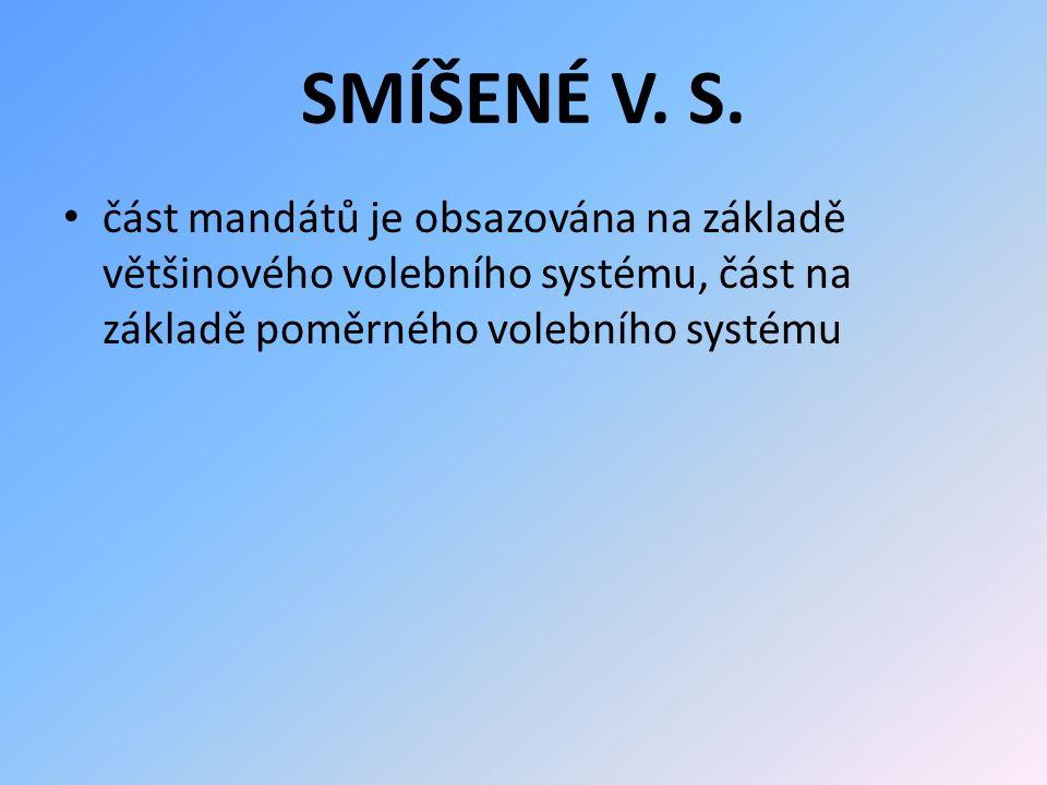 SMÍŠENÉ V. S. část mandátů je obsazována na základě většinového volebního systému, část na základě poměrného volebního systému