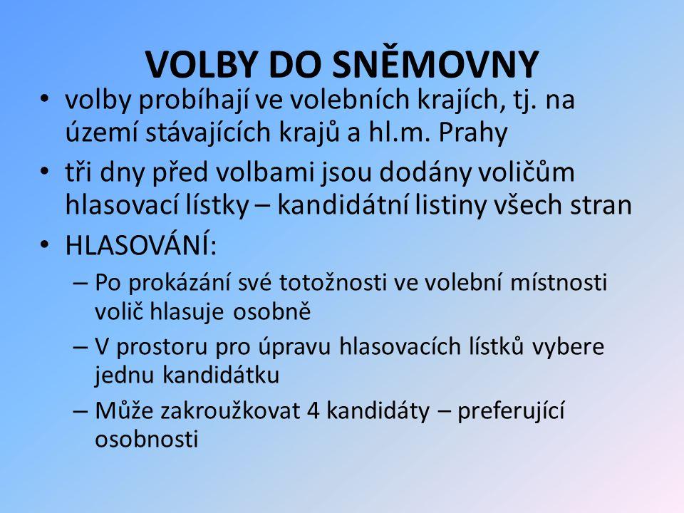 VOLBY DO SNĚMOVNY volby probíhají ve volebních krajích, tj. na území stávajících krajů a hl.m. Prahy tři dny před volbami jsou dodány voličům hlasovac