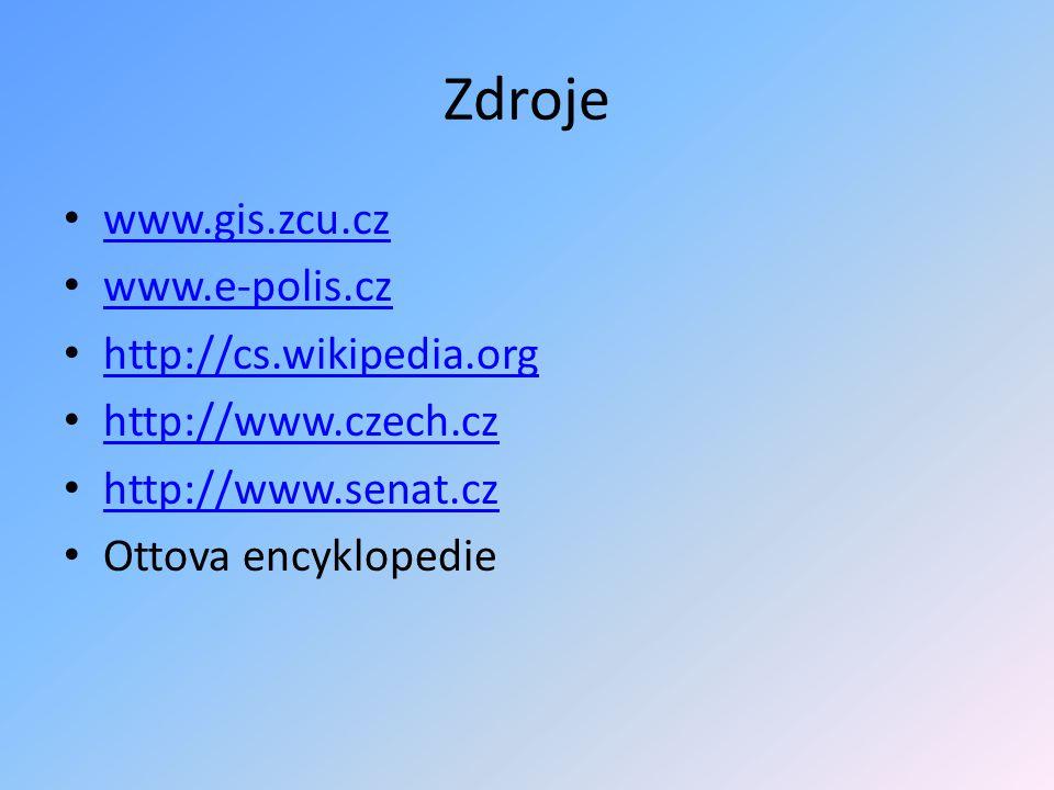 Zdroje www.gis.zcu.cz www.e-polis.cz http://cs.wikipedia.org http://www.czech.cz http://www.senat.cz Ottova encyklopedie