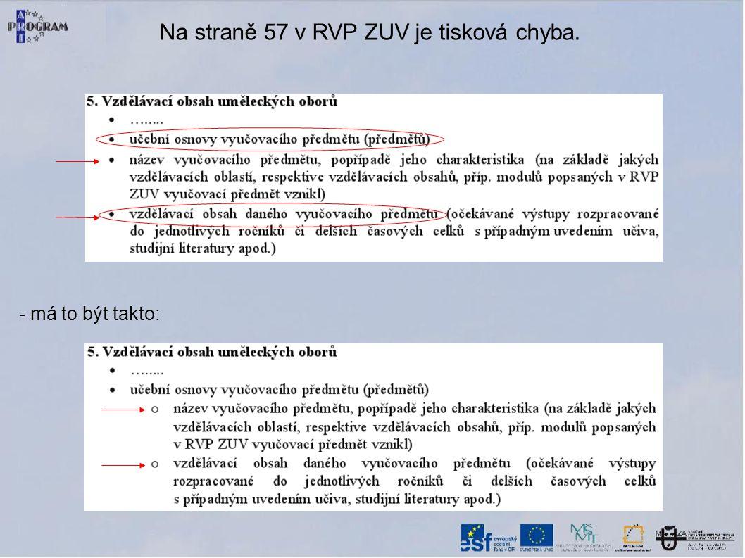 Na straně 57 v RVP ZUV je tisková chyba. - má to být takto: