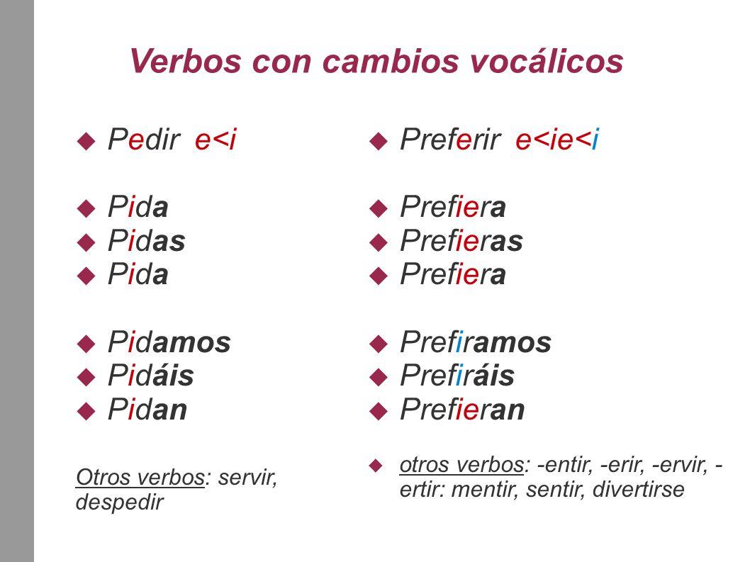 Verbos con cambios vocálicos  Pedir e<i  Pida  Pidas  Pida  Pidamos  Pidáis  Pidan Otros verbos: servir, despedir  Preferir e<ie<i  Prefiera