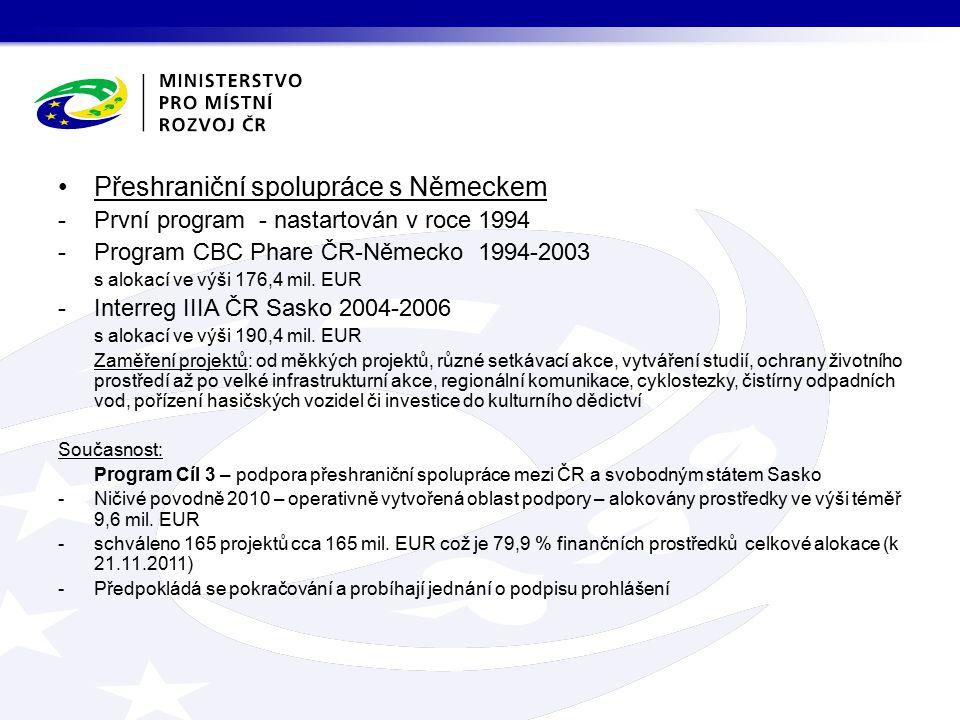 Přeshraniční spolupráce s Německem -První program - nastartován v roce 1994 -Program CBC Phare ČR-Německo 1994-2003 s alokací ve výši 176,4 mil.