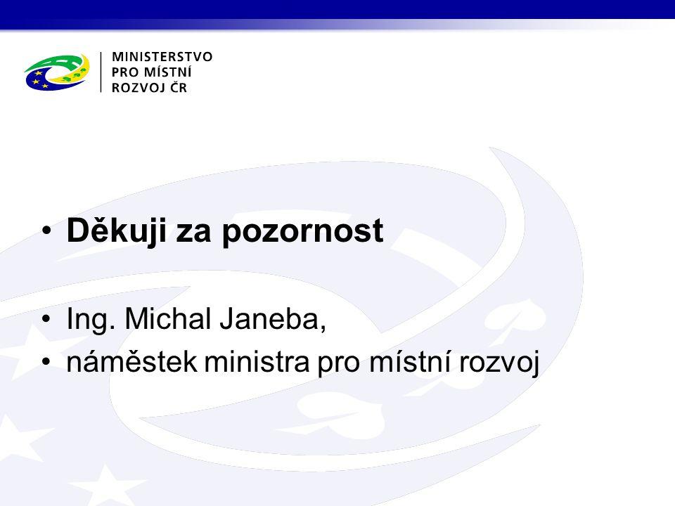 Děkuji za pozornost Ing. Michal Janeba, náměstek ministra pro místní rozvoj