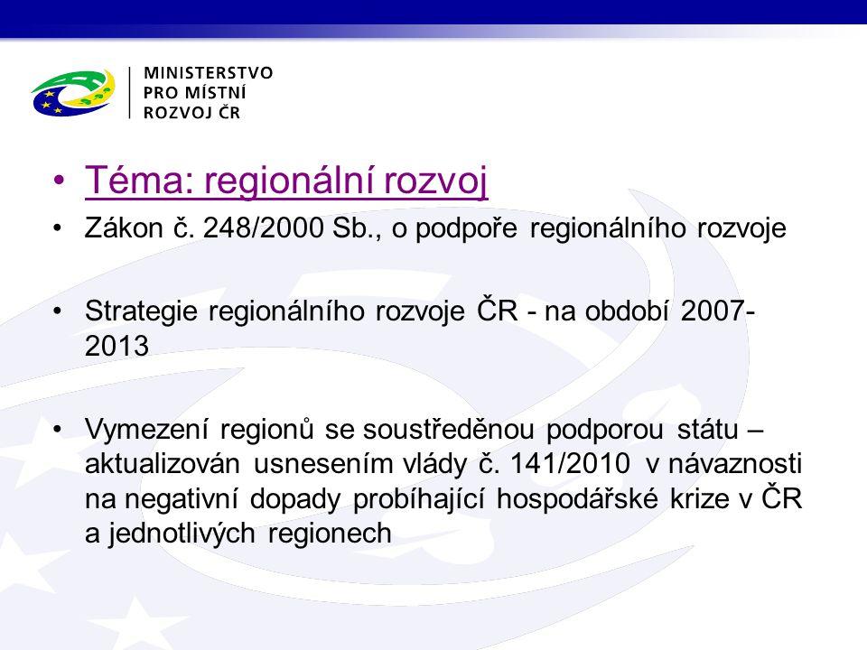 Téma: regionální rozvoj Zákon č.