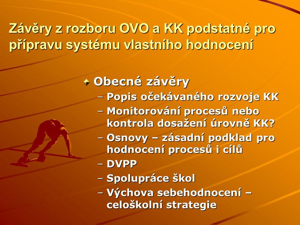 Závěry z rozboru OVO a KK podstatné pro přípravu systému vlastního hodnocení Obecné závěry –Popis očekávaného rozvoje KK –Monitorování procesů nebo kontrola dosažení úrovně KK.