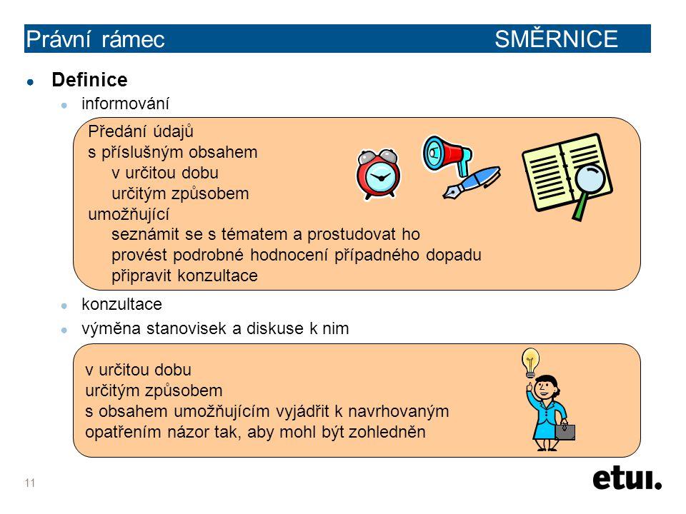 11 ● Definice ● informování ● konzultace ● výměna stanovisek a diskuse k nim Právní rámec SMĚRNICE v určitou dobu určitým způsobem s obsahem umožňujíc