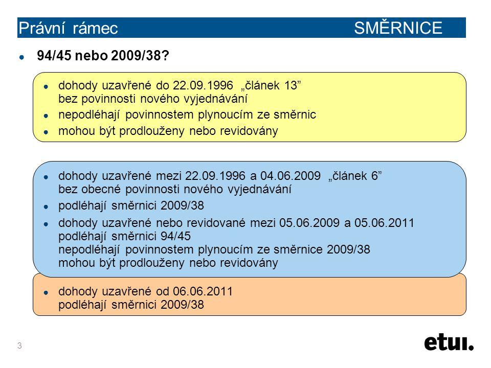 """3 Právní rámec SMĚRNICE ● 94/45 nebo 2009/38? ● dohody uzavřené do 22.09.1996 """"článek 13"""" bez povinnosti nového vyjednávání ● nepodléhají povinnostem"""