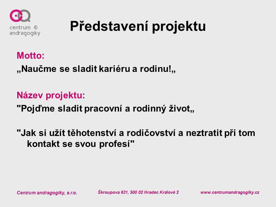 """Centrum andragogiky, s.r.o. Škroupova 631, 500 02 Hradec Králové 2 www.centrumandragogiky.cz Představení projektu Motto: """"Naučme se sladit kariéru a r"""