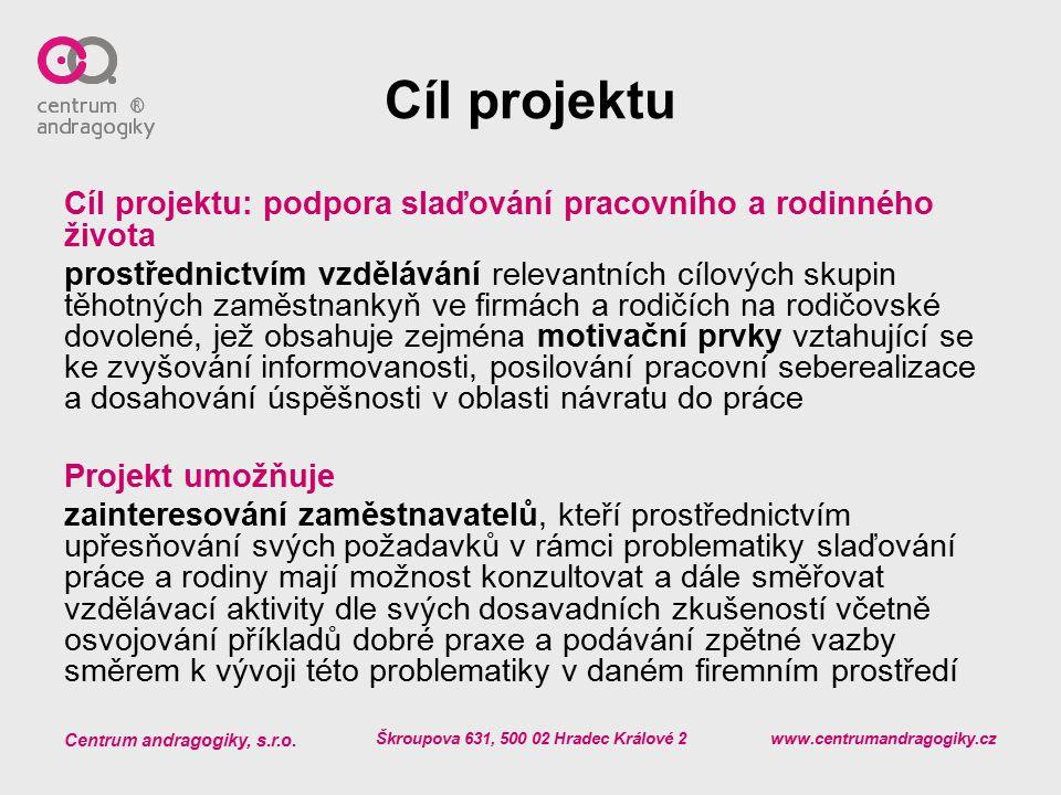 Centrum andragogiky, s.r.o. Škroupova 631, 500 02 Hradec Králové 2 www.centrumandragogiky.cz Cíl projektu Cíl projektu: podpora slaďování pracovního a