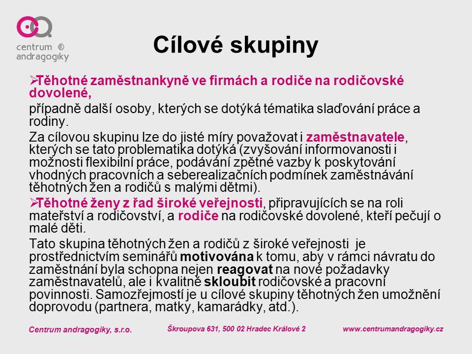 Centrum andragogiky, s.r.o. Škroupova 631, 500 02 Hradec Králové 2 www.centrumandragogiky.cz Cílové skupiny  Těhotné zaměstnankyně ve firmách a rodič