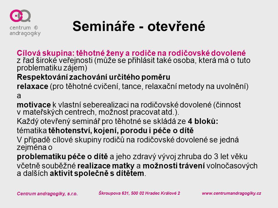 Centrum andragogiky, s.r.o. Škroupova 631, 500 02 Hradec Králové 2 www.centrumandragogiky.cz Semináře - otevřené Cílová skupina: těhotné ženy a rodiče