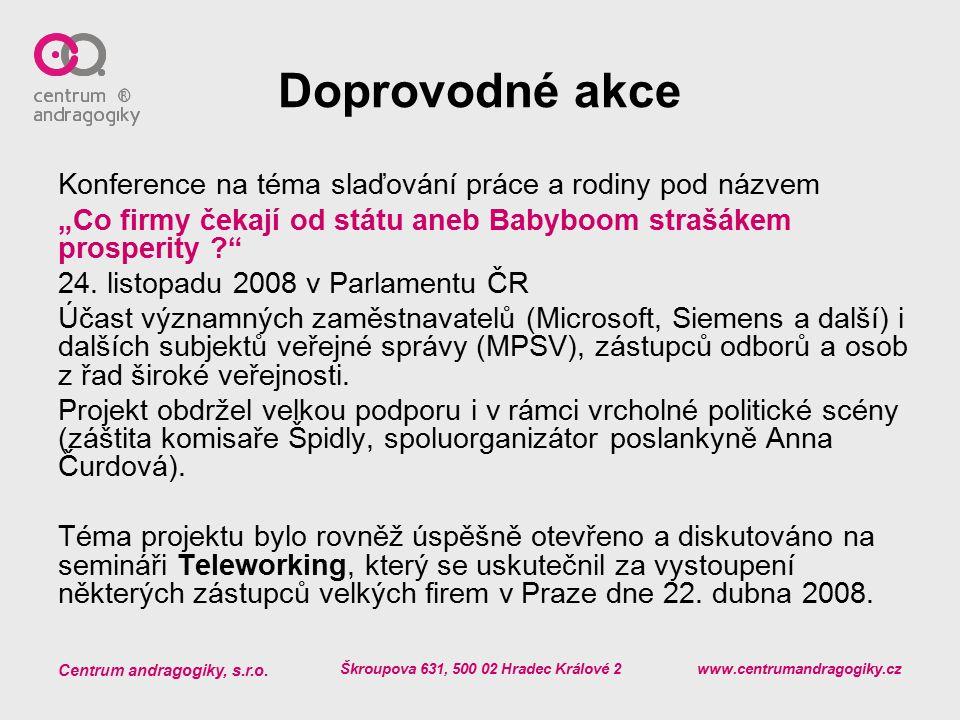 Centrum andragogiky, s.r.o. Škroupova 631, 500 02 Hradec Králové 2 www.centrumandragogiky.cz Doprovodné akce Konference na téma slaďování práce a rodi