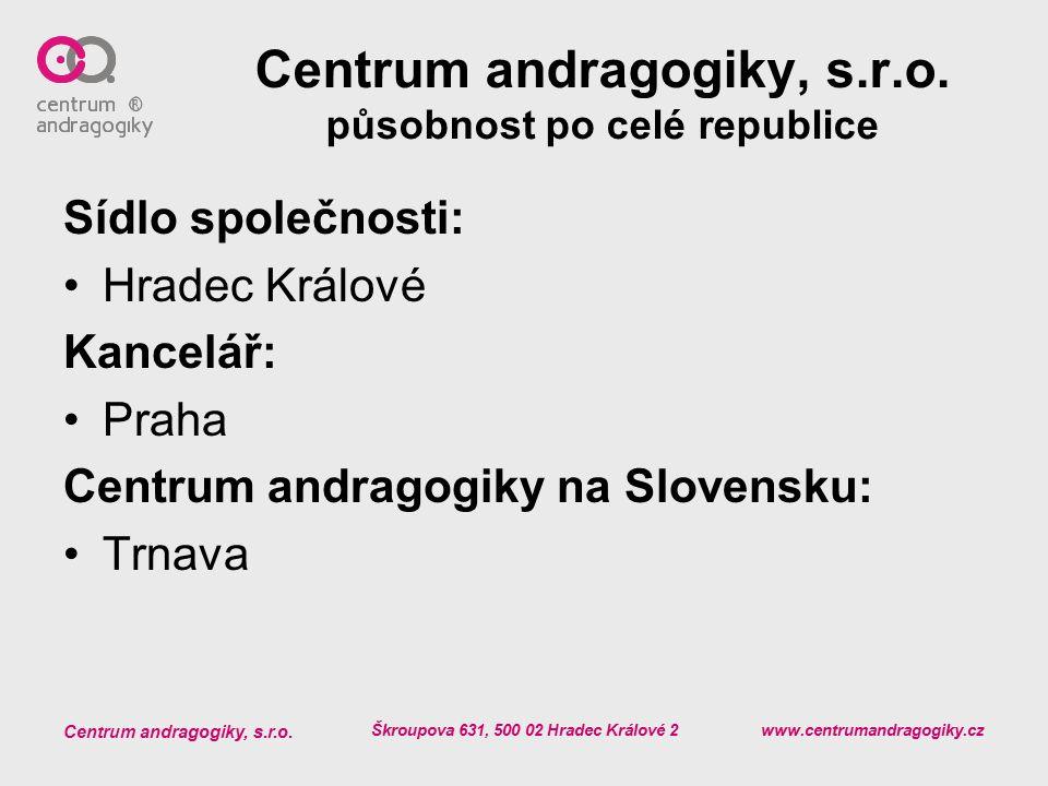 Centrum andragogiky, s.r.o. Škroupova 631, 500 02 Hradec Králové 2 www.centrumandragogiky.cz Centrum andragogiky, s.r.o. působnost po celé republice S