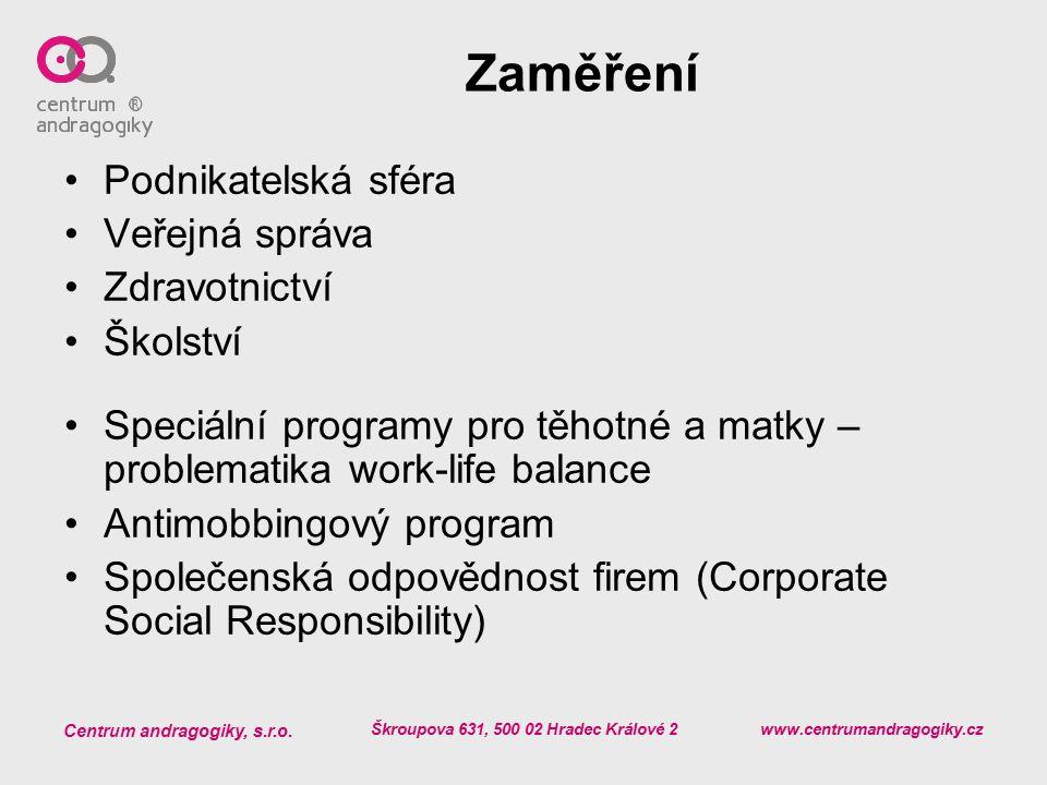Centrum andragogiky, s.r.o. Škroupova 631, 500 02 Hradec Králové 2 www.centrumandragogiky.cz Zaměření Podnikatelská sféra Veřejná správa Zdravotnictví