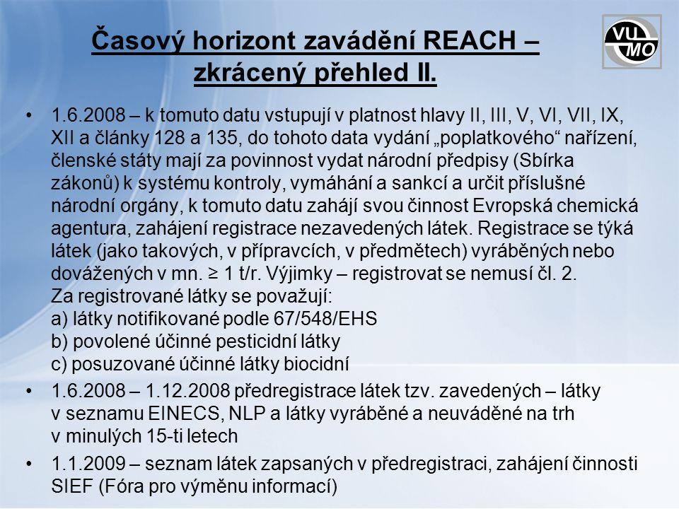 Nařízení – hlava IV Informace v dodavatelském řetězci článek 31 – Požadavky na bezpečnostní listy: a) kdy se mají vypracovat a poskytovat b) kdy se nemusí poskytovat ani tam, kde musely být BL zpracovány (široká veřejnost s dostatečnými informacemi) c) v úředním jazyce členského státu, kde je uveden výrobek na trh, nerozhodne-li stát jinak d) rozsah BL (dále podrobně příloha II) – 16 kapitol (velmi podobné současnému) + příloha expoziční scénáře (ze zpracované CSR) e) poskytování zdarma v tištěné nebo elektronické podobě f) podmínky, kdy se BL list aktualizuje: jakmile jsou k dispozici nové informace, které mohou ovlivnit opatření k řízení rizik, nebo nové informace o nebezpečnosti; po udělení nebo zamítnutí povolení; po uložení omezení.