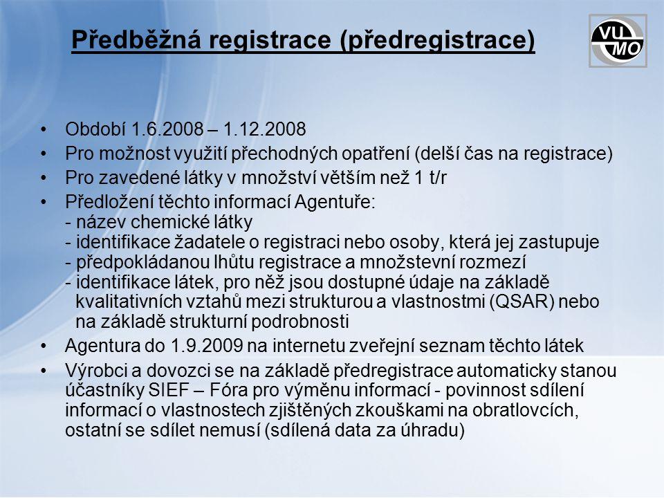 Registrace I.Podmínka pro výrobu nebo dovoz látek v mn.