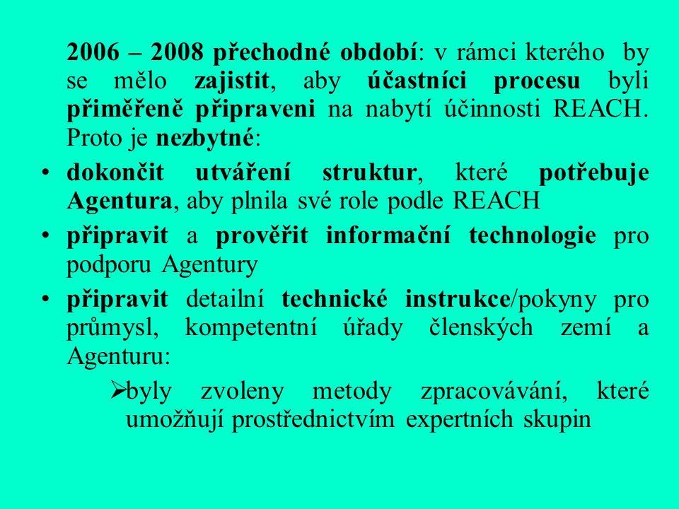 2006 – 2008 přechodné období: v rámci kterého by se mělo zajistit, aby účastníci procesu byli přiměřeně připraveni na nabytí účinnosti REACH.