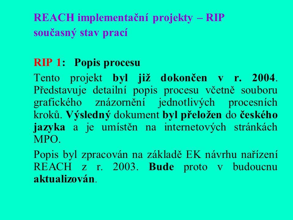 REACH implementační projekty – RIP současný stav prací RIP 1: Popis procesu Tento projekt byl již dokončen v r.