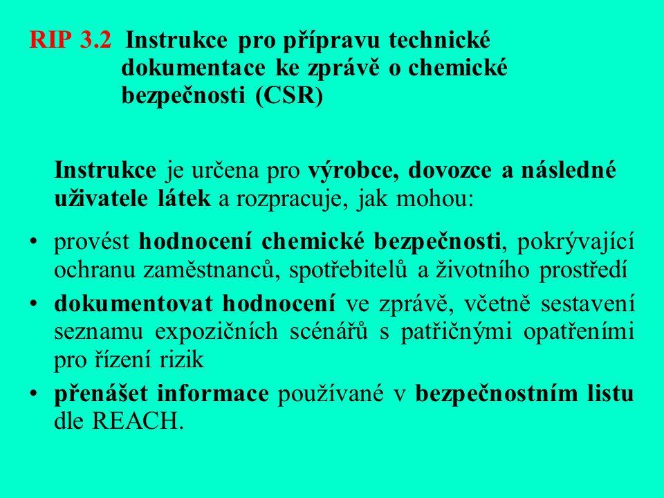RIP 3.2 Instrukce pro přípravu technické dokumentace ke zprávě o chemické bezpečnosti (CSR ) Instrukce je určena pro výrobce, dovozce a následné uživatele látek a rozpracuje, jak mohou: provést hodnocení chemické bezpečnosti, pokrývající ochranu zaměstnanců, spotřebitelů a životního prostředí dokumentovat hodnocení ve zprávě, včetně sestavení seznamu expozičních scénářů s patřičnými opatřeními pro řízení rizik přenášet informace používané v bezpečnostním listu dle REACH.