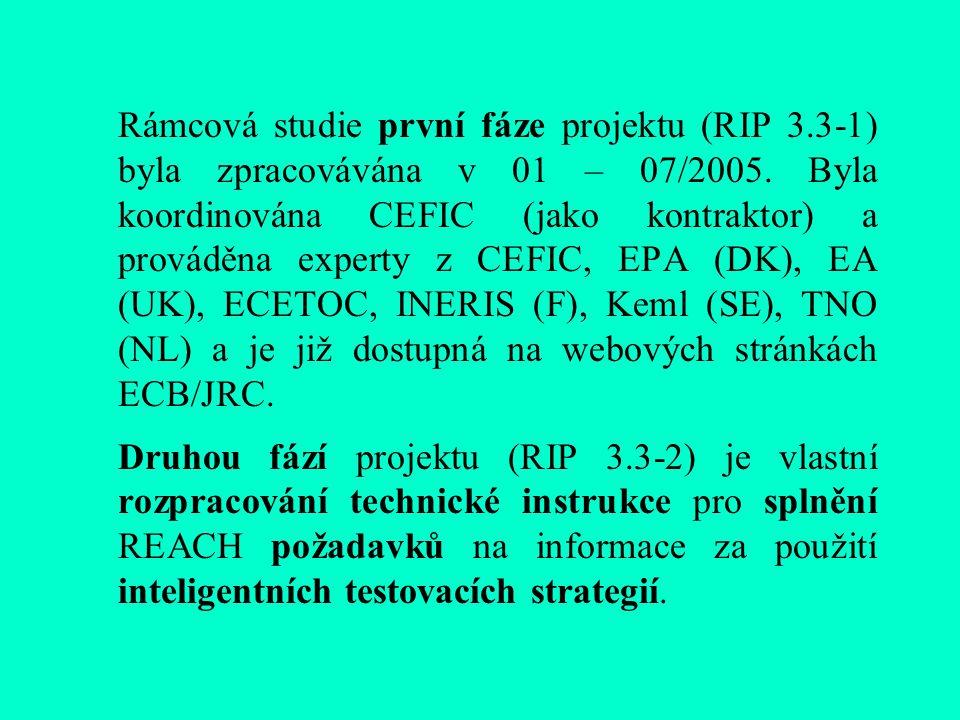 Rámcová studie první fáze projektu (RIP 3.3-1) byla zpracovávána v 01 – 07/2005.