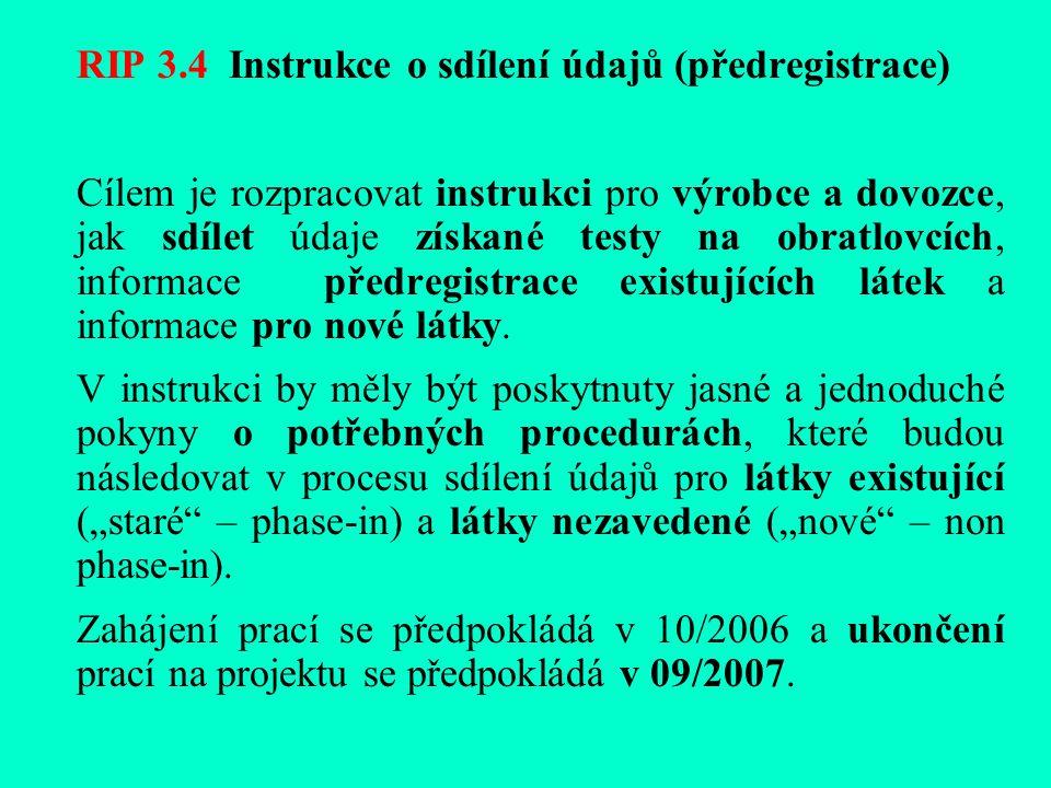RIP 3.4 Instrukce o sdílení údajů (předregistrace) Cílem je rozpracovat instrukci pro výrobce a dovozce, jak sdílet údaje získané testy na obratlovcích, informace předregistrace existujících látek a informace pro nové látky.