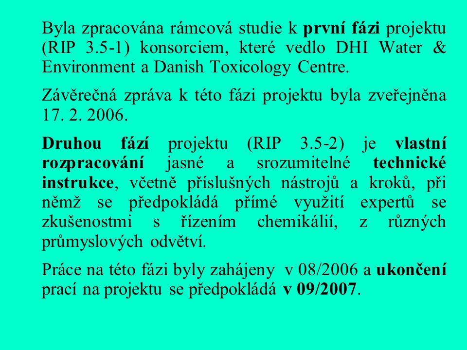 Byla zpracována rámcová studie k první fázi projektu (RIP 3.5-1) konsorciem, které vedlo DHI Water & Environment a Danish Toxicology Centre.