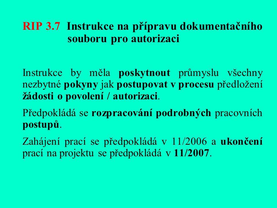 RIP 3.7 Instrukce na přípravu dokumentačního souboru pro autorizaci Instrukce by měla poskytnout průmyslu všechny nezbytné pokyny jak postupovat v procesu předložení žádosti o povolení / autorizaci.