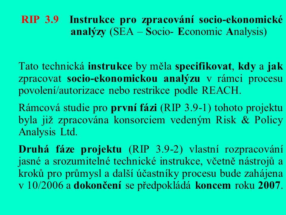 RIP 3.9 Instrukce pro zpracování socio-ekonomické analýzy (SEA – Socio- Economic Analysis) Tato technická instrukce by měla specifikovat, kdy a jak zpracovat socio-ekonomickou analýzu v rámci procesu povolení/autorizace nebo restrikce podle REACH.