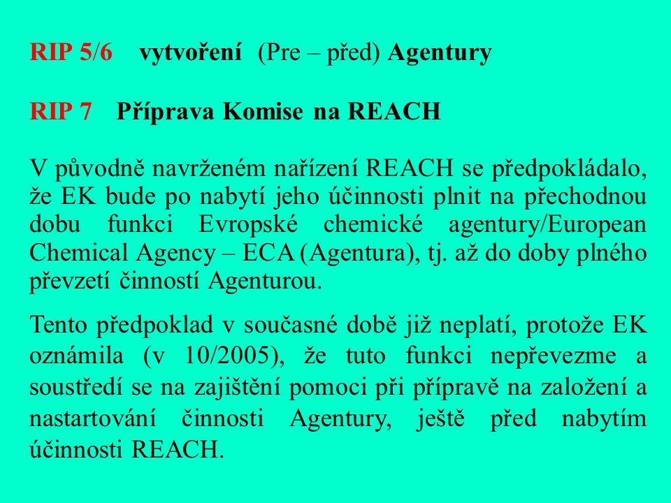 RIP 5/6 vytvoření (Pre – před) Agentury RIP 7 Příprava Komise na REACH V původně navrženém nařízení REACH se předpokládalo, že EK bude po nabytí jeho účinnosti plnit na přechodnou dobu funkci Evropské chemické agentury/European Chemical Agency – ECA (Agentura), tj.