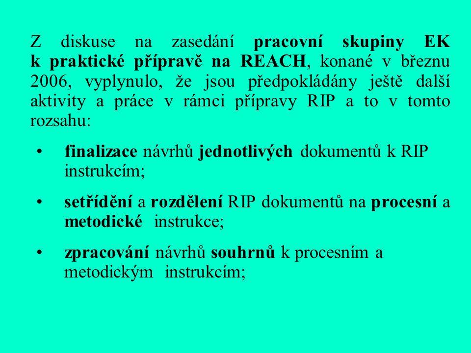 Z diskuse na zasedání pracovní skupiny EK k praktické přípravě na REACH, konané v březnu 2006, vyplynulo, že jsou předpokládány ještě další aktivity a práce v rámci přípravy RIP a to v tomto rozsahu: finalizace návrhů jednotlivých dokumentů k RIP instrukcím; setřídění a rozdělení RIP dokumentů na procesní a metodické instrukce; zpracování návrhů souhrnů k procesním a metodickým instrukcím;