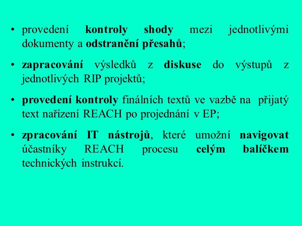 provedení kontroly shody mezi jednotlivými dokumenty a odstranění přesahů; zapracování výsledků z diskuse do výstupů z jednotlivých RIP projektů; provedení kontroly finálních textů ve vazbě na přijatý text nařízení REACH po projednání v EP; zpracování IT nástrojů, které umožní navigovat účastníky REACH procesu celým balíčkem technických instrukcí.