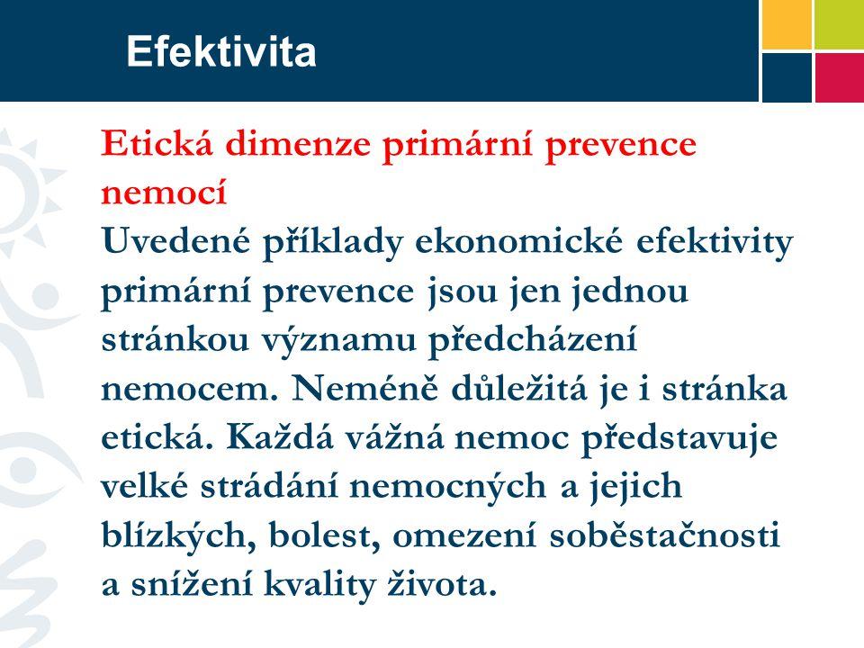 Efektivita Etická dimenze primární prevence nemocí Uvedené příklady ekonomické efektivity primární prevence jsou jen jednou stránkou významu předcházení nemocem.