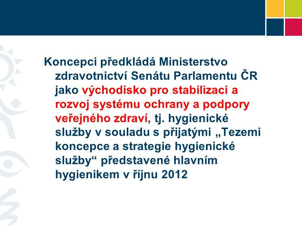 Koncepci předkládá Ministerstvo zdravotnictví Senátu Parlamentu ČR jako východisko pro stabilizaci a rozvoj systému ochrany a podpory veřejného zdraví, tj.