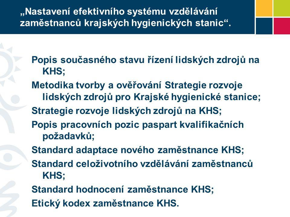 """""""Nastavení efektivního systému vzdělávání zaměstnanců krajských hygienických stanic ."""